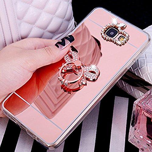 Ukayfe Custodia Cover per Samsung Galaxy S5, Specchio Lusso Placcatura Lucido di Cristallo di Scintillio Strass Diamante Glitter Caso Crystal TPU Silicone Gel Case-Arco di Diamante Oro Rosa 3#