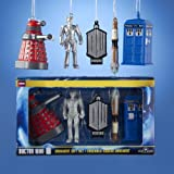 DOCTOR WHO Mini 5 piece Boxed Set of Christmas Ornaments NEW Dalek Tardis