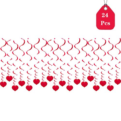 (Amycute 24 stücke Spiral Girlanden mit Herzen,Valentinstag Dekoration Valentinstag Liebe Herz Swirl Hängende für Hochzeiten, Baby Party, Geburtstag Dekoration.)
