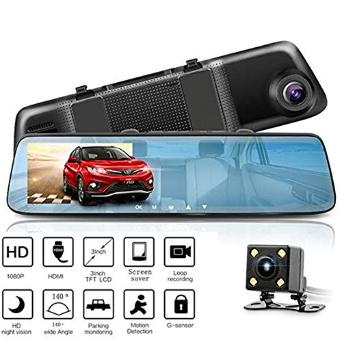 Mirror Dash Cam 5 Inch Touch Screen, 1080P Full HD Front Car Camera Video Recorder Monitor G-Sensor Loop Recording Reverse Camera
