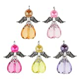 5 abalorios Magideal para pendientes y collares de alas de ángel de la guarda, con corazón de acrílico facetado para manualidades