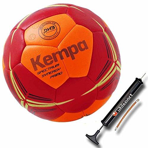 Kempa Handball Top Spiel und Trainingsball DHB IHF LOGO rot/orange super griffig (1 mit Ballpumpe)