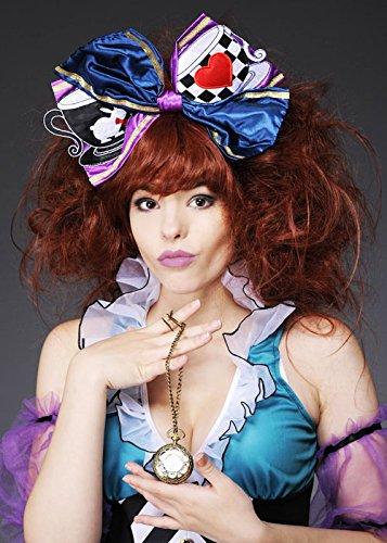 Damen Deluxe Mad Hatter Perücke und Haarschleife