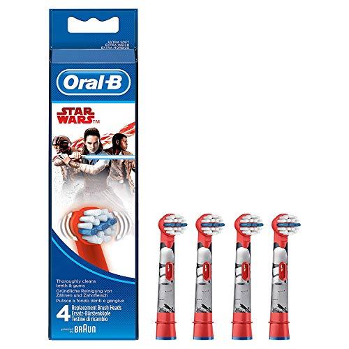 Oral-B Kids Cabezales de Recambio con Los Personajes de Star Wars, Pack de 4 Unidades, Cabezal de Recambio Diseñado Especialmente para Niños, Apto para Niños Mayores de 3 Años