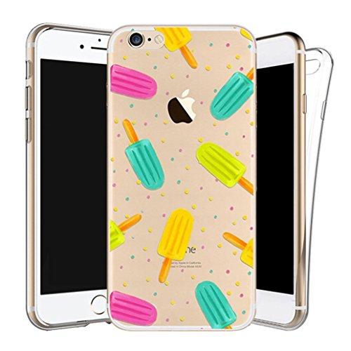 Custodia iPhone 6/6s [Pellicola Protettiva in Vetro Temperato], Yoowei® Design Colorato Cristallo Trasparente Ultra Sottile Morbido TPU Gel Case Cover per iPhone 6/6s 4.7 (UFO) Popsicle colorato