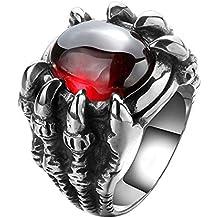 UM Joyería Acero inoxidable Personalizado Hombres gótico Dragón Garra Biker Anillos Vendimia,Plata roja