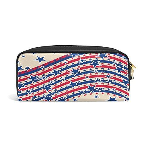 zzkko 4. Juli Amerikanische Flagge Leder Reißverschluss Federmäppchen Pen Stationäre Bag Kosmetik Make-up Bag Tasche Geldbörse (Flagge Herren-usa-amerikanische)