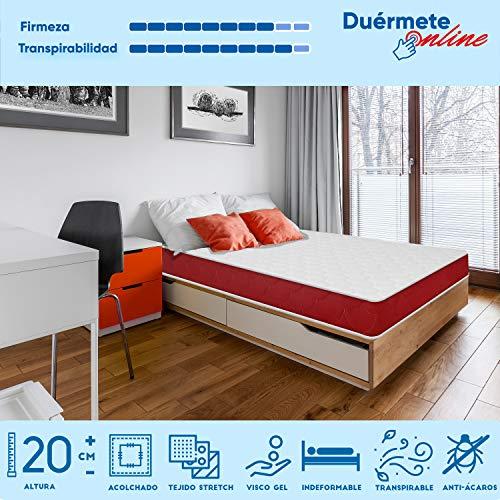 Duermete viscoelástico Lite Reversible (colchón a 2 Caras), Muy Transpirable, Blanco, 90 x 190