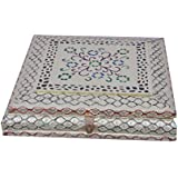 Craft Zone Dry Fruit Box, Serving Tray, Decorative Platter, Beautiful Snack Box With Unique Meenakari Work From Craft Zone