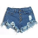 Damen Hosen Sommer LHWY Frauen Vintage Pants Hohe Taille Jeans Loch Kurze Jeanshosen Skinny Denim Getragene Party Tanzen Clubwear Shorts Blau (S, Dark Blue)