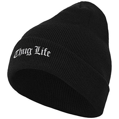 Thug Life T-shirt (Thug Life Herren Old English Beanie Mütze, Black, One size)