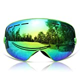 GAGA MILANO Copozz Skiing Goggles Snowboard goggles Double Lens Anti-UV Anti-Fog Skating Goggles For Women And Men, Boys And Girls Green