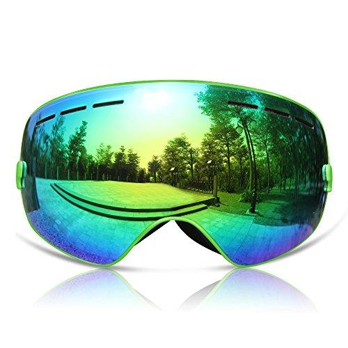 GANZTON Skibrille Snowboard Brille Doppel-Objektiv UV-Schutz Anti-Fog Skibrille Für Damen Und Herren Jungen Und Mädchen Grün (Herren-blau Grün)