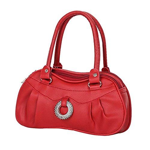 YULAND Handtasche Damen Klein Transparente Tasche Rucksack Damen Ledertasche Kleine Frauen Mode Reine Farbe Handtasche Schultertasche Tote Damen Geldbörse (Rot)