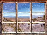 Bank in den Dünen mit Blick auf das Meer Kunst Buntstift Effekt Fenster im 3D-Look, Wand- oder Türaufkleber Format: 62x42cm, Wandsticker, Wandtattoo, Wanddekoration
