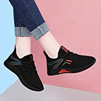 ASxinZ Black Sneakers Breathable Autumn Light Soft Bottom Running Shoes Autumn Shoes Summer New Women'S Shoes Casual Shoes,35,red