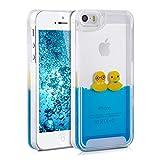 kwmobile Hülle für Apple iPhone SE / 5 / 5S - Hardcase Backcover Case mit Flüssigkeit Handy Schutzhülle - Cover mit Enten Design in Gelb Blau Transparent
