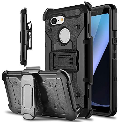 Google Pixel 3 Hülle, Tevero Kickstand [Heavy Duty Protection] Swivel Belt Clip Full Body Armor Protective Shock Proof Phone Case Cover for Google Pixel 3, schwarz (3 Film Halloween Clips)