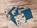 Lot de 8 lingettes réutilisables A09 chat tête dans les nuages écologique et lavables/bébé/cadeau naissance/lingettes démaquillantes/carré à démaquiller