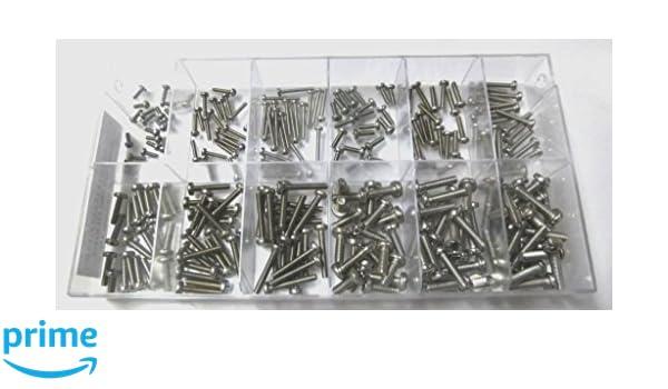 6 Stück Gewindeschrauben mit Muttern 5 x 16 mm Messing Linsenkopf kreuz DIN 7985
