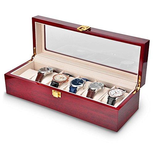OTraki Uhrenkasten Set für 6 PU Leder/Holz Damen mit Klarglas Oberseite Uhrenkasten Display Boxes Elegantes Aussehen Watch Box Schwarz Goldener Verschluss für 6 Uhren für Damen und Herren (PU Leder) (Oberseite Box)