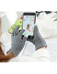 Longless Guantes de pantalla táctil señoras de otoño e invierno estudiantes guantes de punto de calor de sección larga