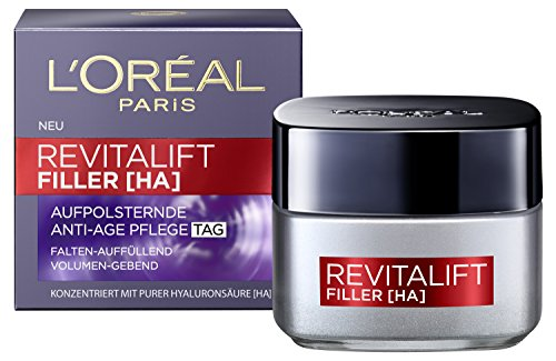 L'Oréal Paris Hyaluronsäure Tagescreme, Anti-Age Feuchtigkeitspflege, Revitalift Filler Gesichtscreme gegen Falten, 50ml - Intensive Aufpolsterung