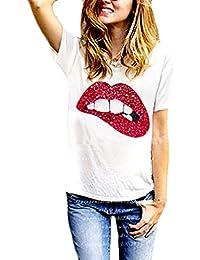 Camisetas Mujer Verano Manga Corta Cuello Redondo Basicas Elegantes Classic Fashion Lentejuelas Labios Estampadas Outdoor Casual