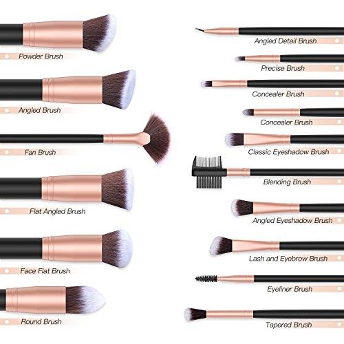 BESTOPE Make up Pinsel Set 16 Stück Premium Kosmetik mit Synthetisches Haar Pinselset kosmetik Kabuki Foundation Blush Eyeshadow Eyeliner Kompaktpuder Abdeckcremes Die Schönheit Tools(Rosa Gold)
