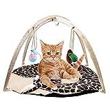 Lembeauty gattino gatto letto Pet InterActive attività pieghevole da giocattolo in morbido pile, amaca tenda da appendere con mouse campana palla giocattoli (casuale)