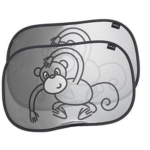 Auto Companion Lot de 2 pare-soleils universels pour bébé - Bloquent les rayons UV nocifs, protègent de la chaleur et des éblouissements - Protection pour vos enfants - Motif singe amusant