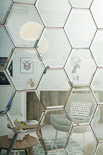 My-Furniture - Azulejos hexagonales de Espejo Plateado Biselado de Pared para Dormitorio, baño, Cocina...
