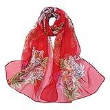 TUDUZ Châle Écharpe en Mousseline de soie, Imprimé Fleur de pêche Foulard Longue écharpe étole en mousseline Châle pour Demoiselles Soirée Mariage Plage(Rouge,Taille unique)