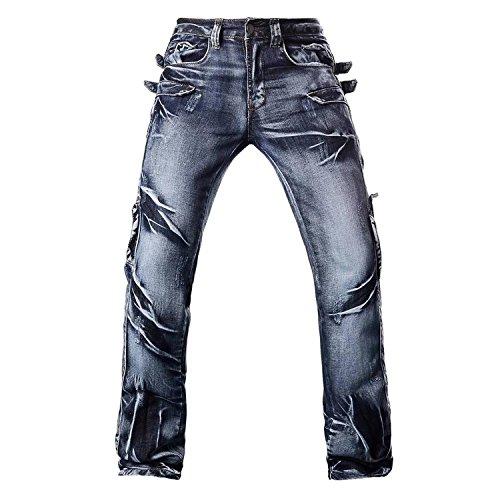 Jeansian Moda Pantaloni Casual Uomo Jeans Denim Sottile Uomini J007 (W30, J003_Blue)