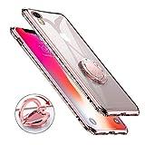 Newseego Compatible avec la Coque iPhone XR, Cas Mignon de téléphone de Fille Durable Durable de Protection de TPU, Diamant Bling à Rotation 360 ° Anneau de Pare-Chocs en Strass iPhone XR-Or Rose