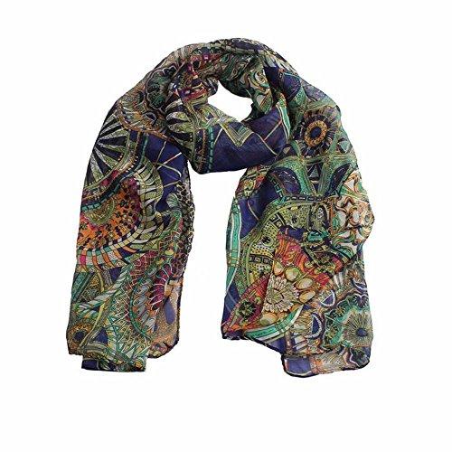 Zolimx Mode Frauen Mädchen Chiffon Bedruckter Seide lange weiche Schal Schals (Marine)