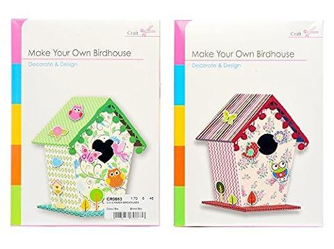 Build Make Your Own Bird House Craft Children Card Paper Kit - Birdhouse Set (Green)