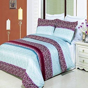 Luxus Gedruckt Mauve Kimberly Filterlinsen-Set (Bettbezug Set, 300Fadenzahl 100% ägyptische Baumwolle Faser Reactive Prints mit passenden kissenrollen, baumwolle, multi, King/California king -