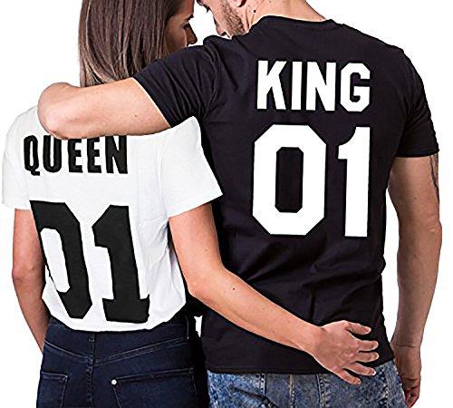 Über 20 Designs auswählbar Partner Look Pärchen T-Shirt Set King Queen für Pärchen als Geschenk in Versch. Farben S-4XL, Größe:XXL;Partner Shirts:Herren T-Shirt Schwarz = King 07