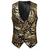 Roiper Paisley Gilet Homme sans Manches Slim Fit Ancien Rétro Double Boutonnage Costume Blazers