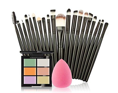 FantasyDay® 6 Couleurs de Maquillage Crème Correcteur Concealer Contour Palette Fond de Teint Cosmétique Anti-cernes Mettez en Surbrillance Camouflage Palette + 20PCS Pinceaux de Maquillage +1 Beauty Blender #1