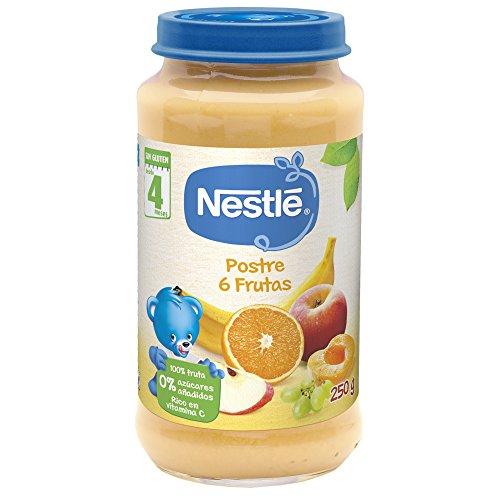 Nestlé Purés - Tarrito de puré de fruta, variedad Postre 6 Frutas, para bebés a partir de 4 meses - Tarrito 250 gr