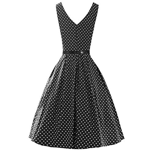 LUOUSE Damen Kleid Neckholder 50er Blumen Schaukel Pinup Rockabilly Vintage Kleid V095-Black