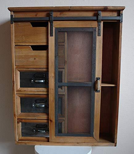 Wandschrank Schubladen Schiebetür Vintage Holz Draht