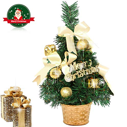 EAHUHO Mini Kiefer Tischplatte Weihnachtsbaum 30 cm Hoch Künstliche Home Office Decor mit 14 Stücke Weihnachtsdekoration Ornamente im Korb Festliche Baum für DIY Room Party Weihnachtsdekoration Gold