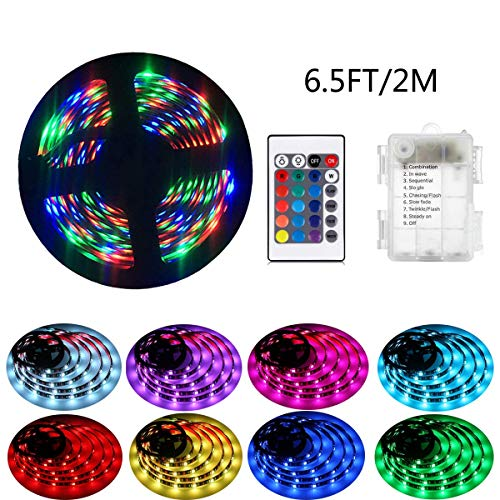 2m LED-Streifenlichter mit 24 Tasten Fernbedienung und Kasten, RGB 5050 Wasserdichtes Multicolor Lichtleiste für Weihnachten Hause Indoor und Ourdoor Dekoration