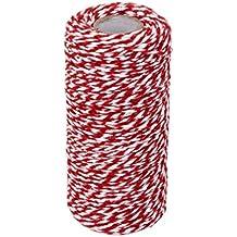 100m Wickeln Geschenk Baumwollseil Band Schnur Seil Schnur String Rot, Weiss