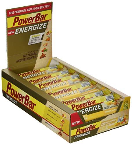 PowerBar Energieriegel Energize mit Magnesium und Natrium - Fitness-Riegel, Kohlenhydrate Riegel mit Hafer, Früchten und Maltodextrin bei erhöhtem Energiebedarf - 25 x 55 g Original Vanilla Almond