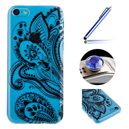 Etsue Case Pour iPhone 5C,Ultra-minces TPU Silicone Coque Black Ananas pattern Case Pour iPhone 5C,Diux Chir Housse Noir Motif Cover pour iPhone 5C + 1 x Bleu stylet + 1 x Bling poussière plug (couleu côté côté