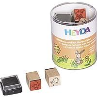 """HEYDA Kit de tampons à motifs """"printemps"""", boite ronde"""